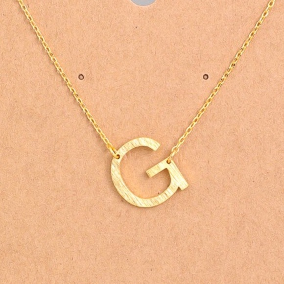 """Jewelry - Letter """"G"""" Sideways Initial Dainty Gold Necklace"""